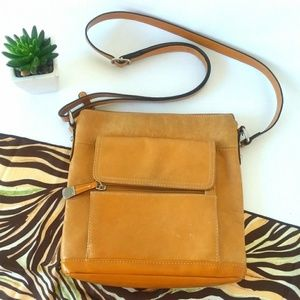 Giani Bernini Genuine Leather Camel Crossbody Bag